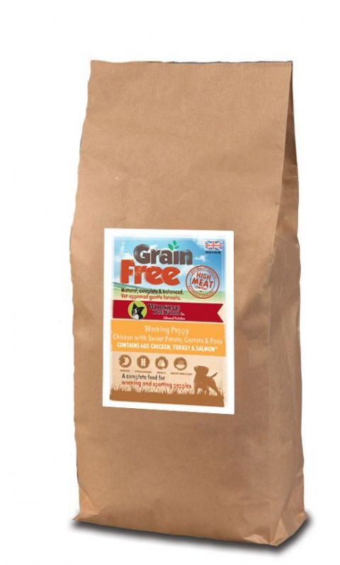 Grain Free Puppy* Working Dog Food Chicken, Sweet Potato, Carrots & Peas